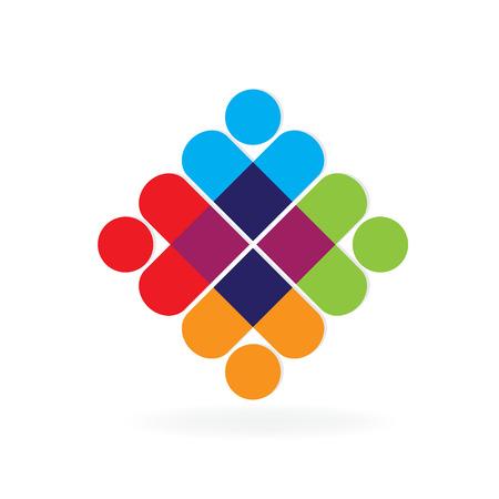 Teamwork people love hearts symbol logo vector
