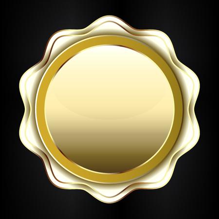 Golden label icon Illustration