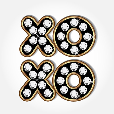 Xoxo gold and diamonds word vector icon image