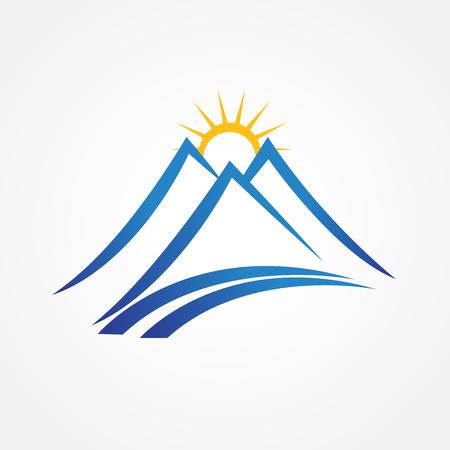 日当たりの良い山の青いロゴ