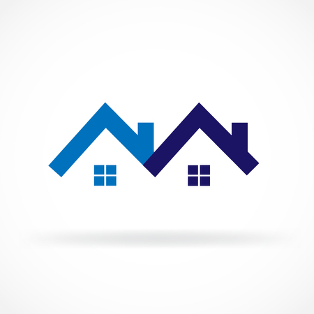 Real estate blue houses icon logo vector image