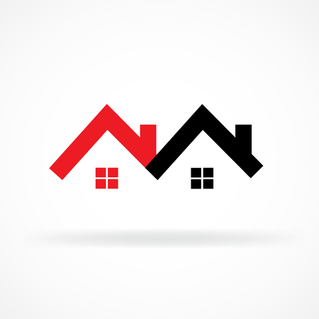 Real estate houses icon logo vector image Illustration