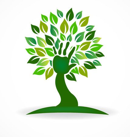 Tree hand health care life symbol vector