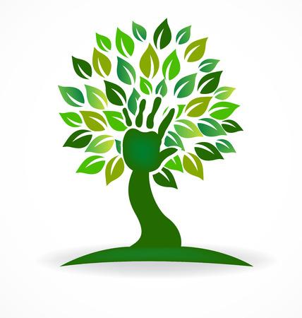 Vector de símbolo de vida de cuidado de salud de mano de árbol Foto de archivo - 88412337