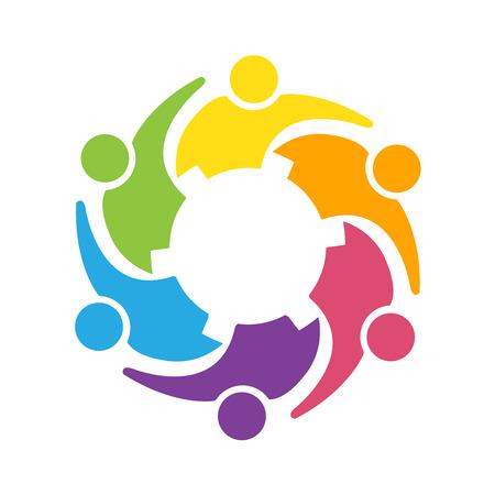 voluntary: Teamwork gear people icon.