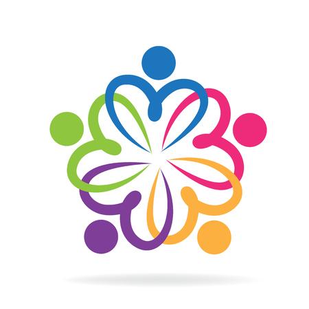 Teamwork love people logo  イラスト・ベクター素材