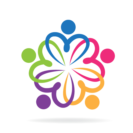 Teamwork love people logo Vectores