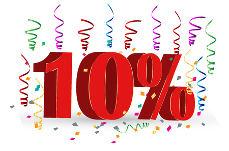 10% Sale discount holidays sign Illustration