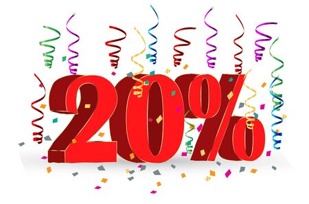 20% Sale discount holidays sign Vettoriali