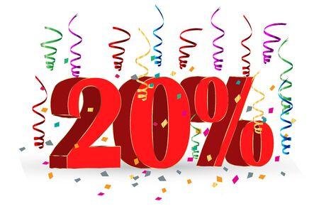 20% Sale discount holidays sign Illustration