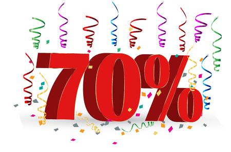 percent sign: 70% Sale discount holidays sign Illustration
