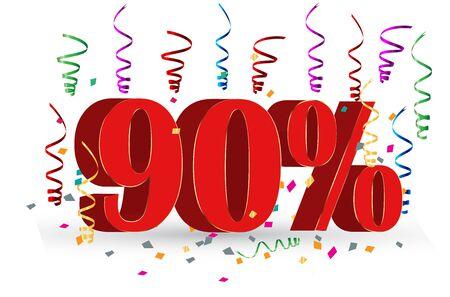 90% Sale discount holidays sign Illusztráció