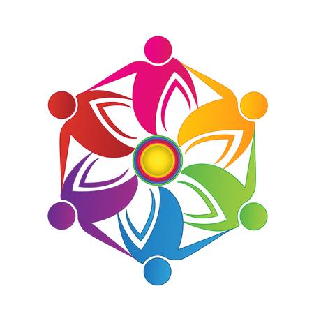 Teamwork people flower shape logo vector