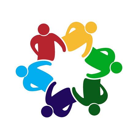 Teamwork unity people icon on white background, vector illustration.