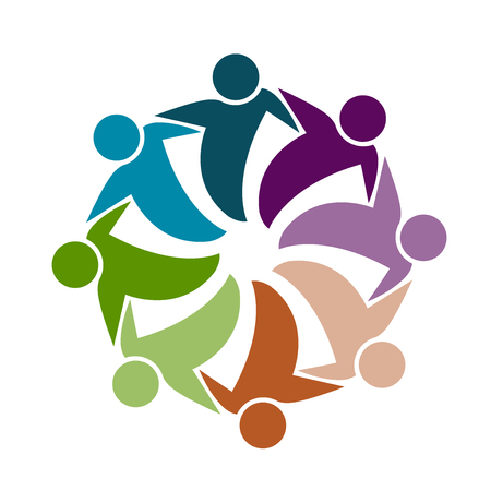 celebration: Teamwork business people icon on white background, vector illustration.