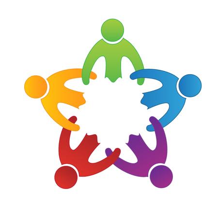 Teamwork friendship people icon on white background, vector illustration.