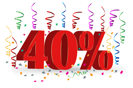 percentage: 40% Sale discount holidays sign