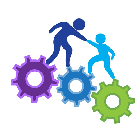 climbing to success goals on gears icon logo vector image