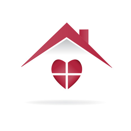 House love heart logo vector image Illustration