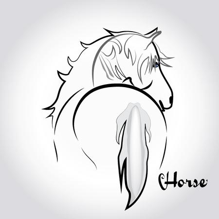White horse silhouette logo icon template Illustration
