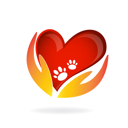 Hands with love care for pets icon.