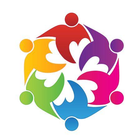 voluntary: Teamwork people in a hug icon.