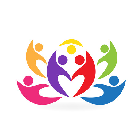 group fitness: Lotus flower teamwork people icon vector image