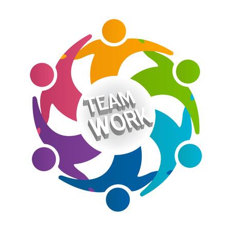 Teamwork people in a hug icon.