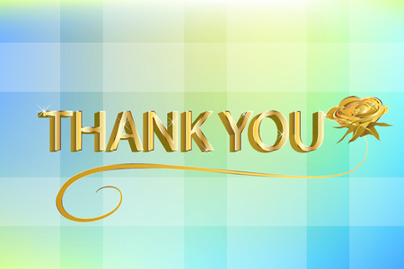 Thank you gold words with a rose beautiful grateful card