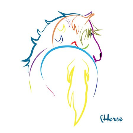 Beauty colorful horse vector image. 일러스트