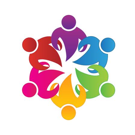 Teamwork unity business people icon logo vector Illustration