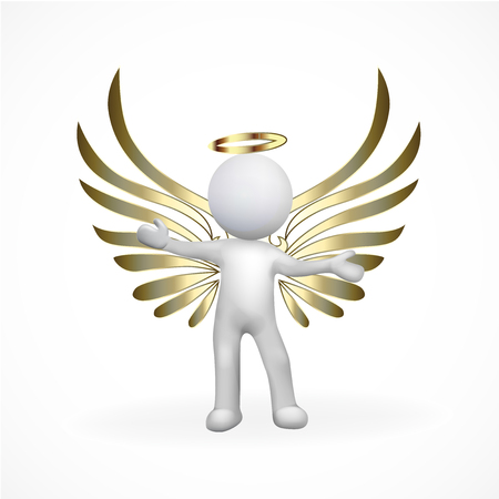 computer art: Angel 3D man icon vector image