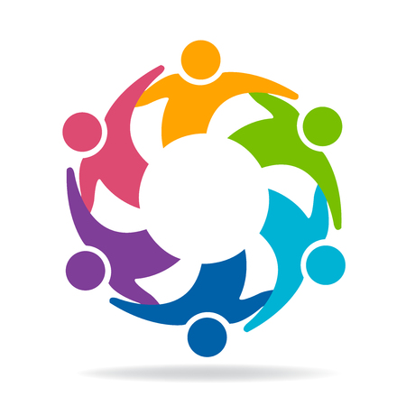 Teamwork friendship unity business colorful people icon logo vector