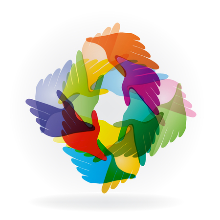Hands connected, helping people colorful logo vector image template