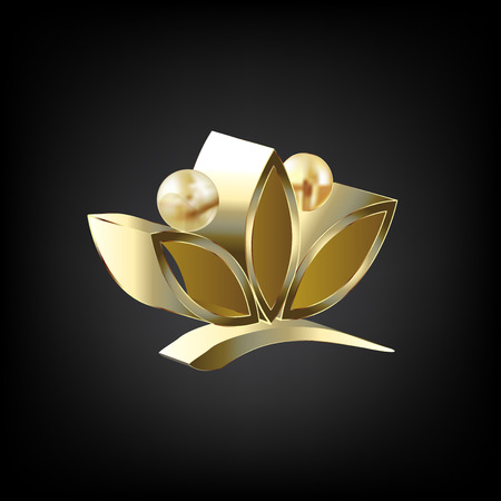 Gold 3D lotus people flower vector image icon design