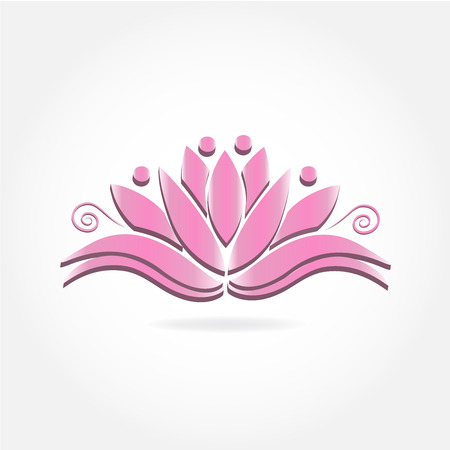 Pink lotus people flower logo icon image