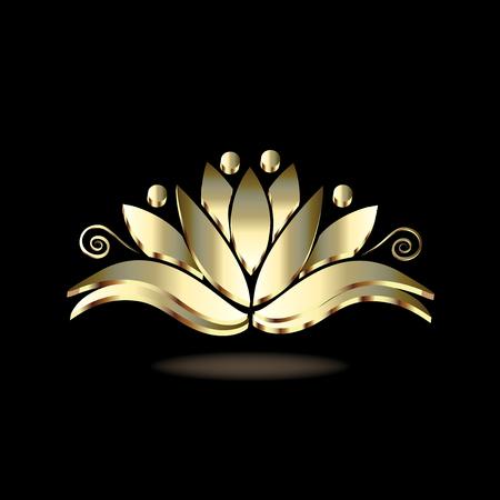 Gold stylized lotus people flower luxury image design Illusztráció