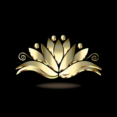 Gold stylized lotus people flower luxury image design Illustration