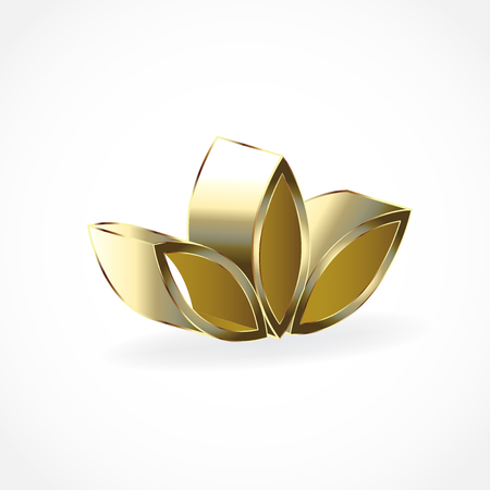Gold lotus flower  vector icon Illustration