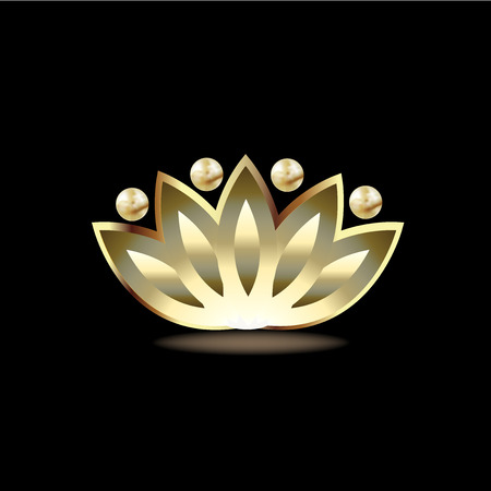 Gold people lotus flower  vector icon