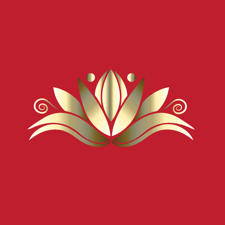 Golden lotus luxury flower id card icon  vector image