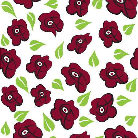 Roses seamless background, vector illustration.