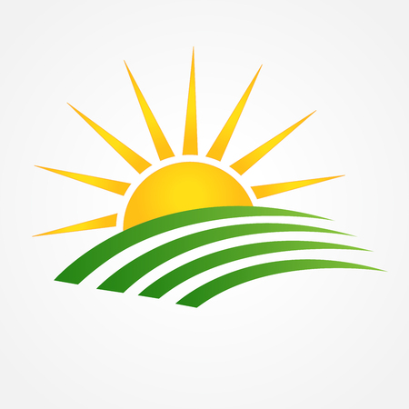 Sun and green agriculture cultives swooshes line art icon logo vector Illustration