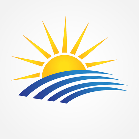 Sun with beach swooshes line art blue ocean water id business brand icon.