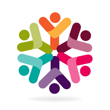 Teamwork happy people colorful icon graphic id business brand logo vector