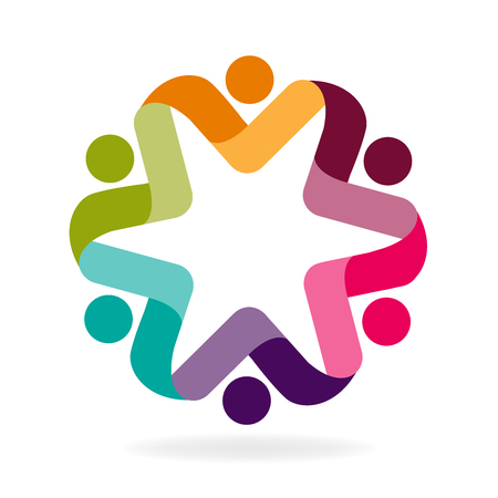 Teamwork people holding hands colorful icon graphic id business brand logo vector