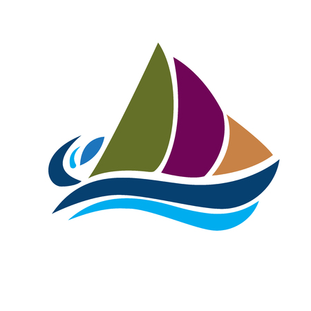 Boat beach waves icon vector image, vector illustration.  イラスト・ベクター素材