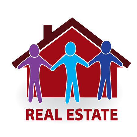 Real estate house and people vector image Illustration