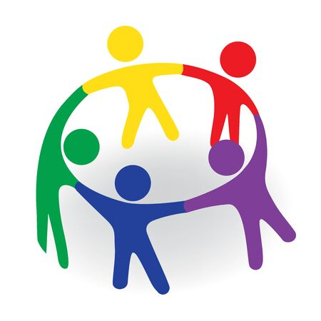 Group of team people in a meeting emblem vector image Vetores
