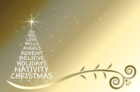 Christmas tree with words shape gold greetings card